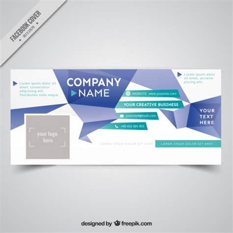 Origami Company - origami abstract business cover for social media vector