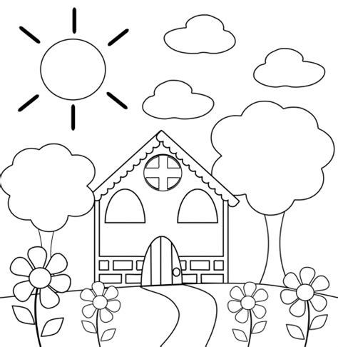 preschool coloring pages about school preschool coloring page house felt patterns felting