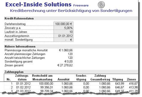 kredit sondertilgung kostenlos excel darlehens und annuit 228 tenrechner codekicker