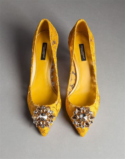 dolce and gabbana shoes dolce gabbana embellished lace pumps in yellow