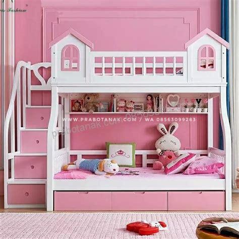 Ranjang Kayu Susun ranjang susun pink house perabot anak mebel anak