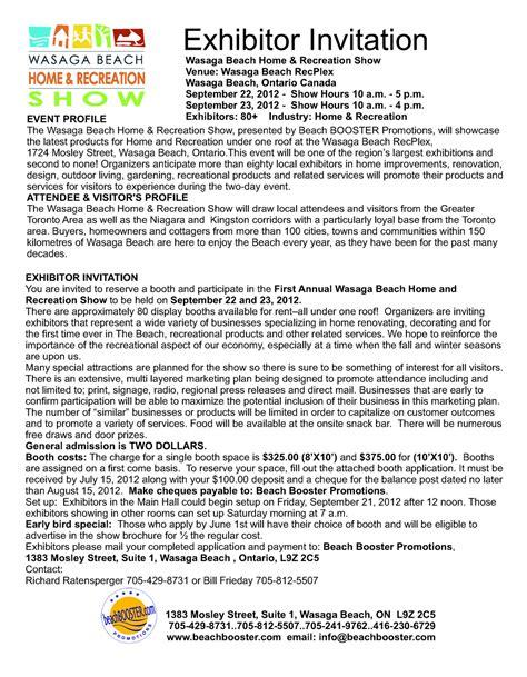 Vendor Conference Invitation Letter Wasaga Home Recreation Show September 22 23 2012