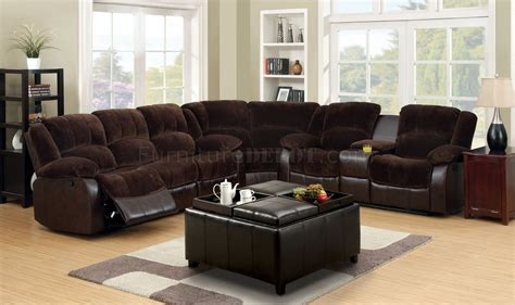 brown reclining sectional winchester reclining sectional sofa cm6556cp in brown