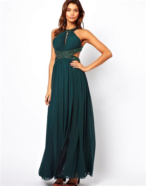 Emerald Umbrela Dress Hq forever unique halter maxi dress with embellished waist in green lyst