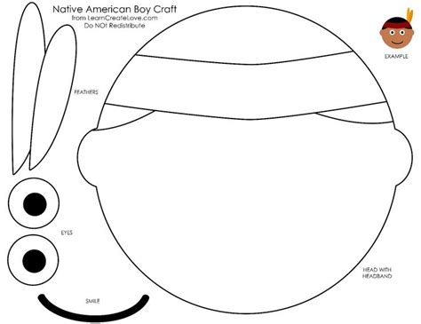 indian face coloring page printable native american face craft for thanksgiving