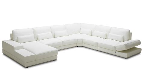 White Leather Sectional Sofa With Chaise Modern 3 White Leather Nolan Sectional Sofa Zuri Furniture