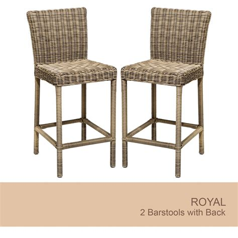 Outdoor Wicker Bar Stool Royal Outdoor Wicker Patio Bar Stool With High Back Set Of 2 Ebay
