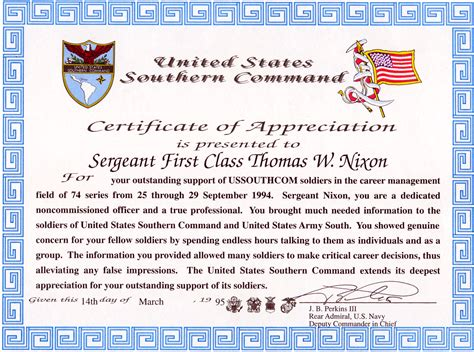 doc 585452 military certificate of appreciation template