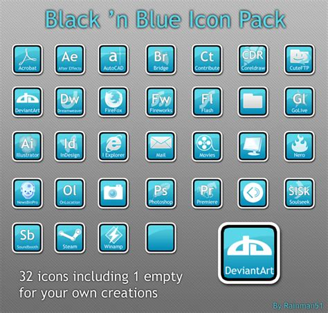 Desktop Ion Blacberry 9360 Black Pack black n blue icon pack by rainman51 on deviantart