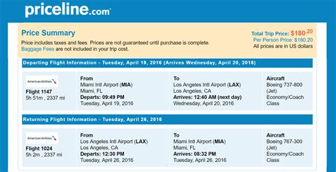 priceline non stop trip flights miami to los angeles ca for only 180