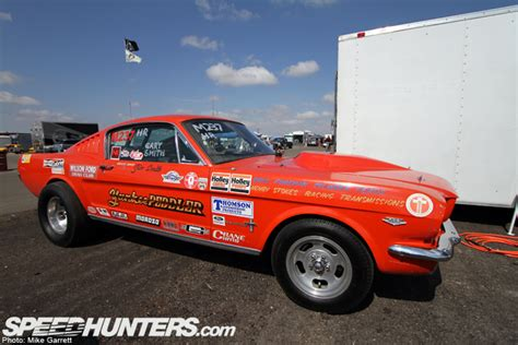 classic yankee peddler mustang drag car emerges from