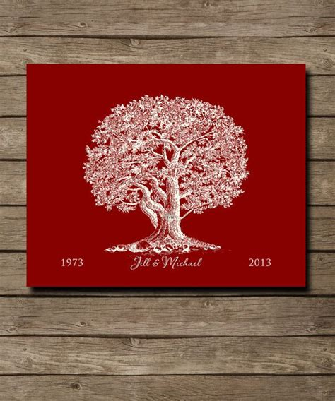 custom wedding tree 40th ruby keepsake gift personalized tree with initials in 8 x
