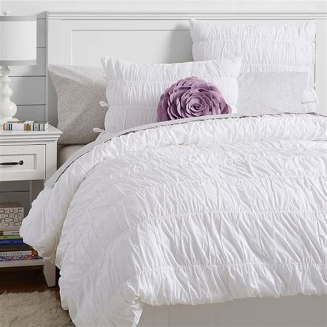 Duvet Cover Smaller Than Comforter ruched duvet cover sham white pbteen