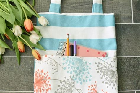 tote bag pattern with outside pockets tutorial simple tote bag with outside pocket sewing