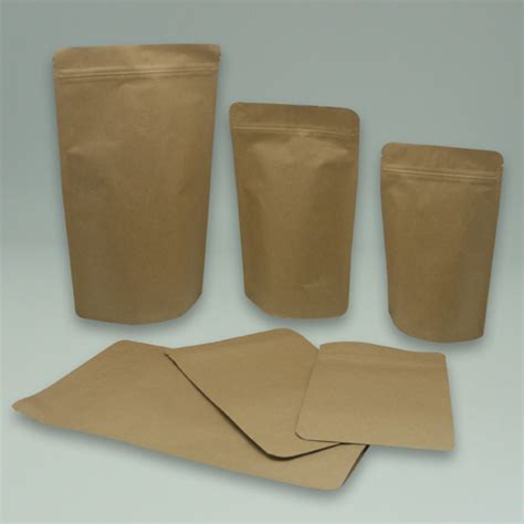 Stand Up Pouch Coffee Bags   with One Way Degassing Valve & with Zip   Coffee Bag, Kraft Paper