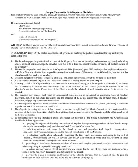 musicians contract template 6 sle self employment agreements sle templates