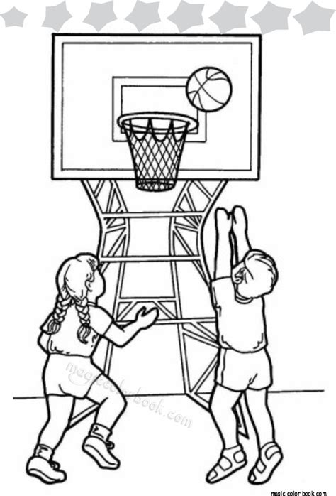 basketball game coloring pages two kids playing basketball in school gym coloring page