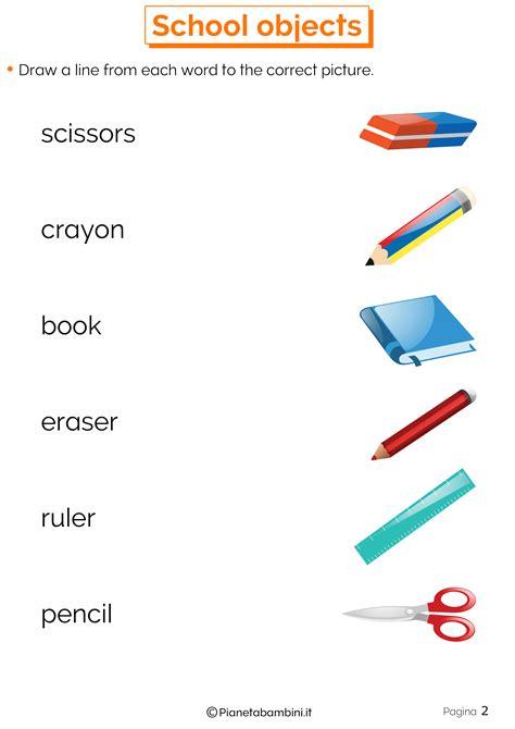 testi inglese da tradurre gli oggetti scolastici in inglese esercizi per la scuola