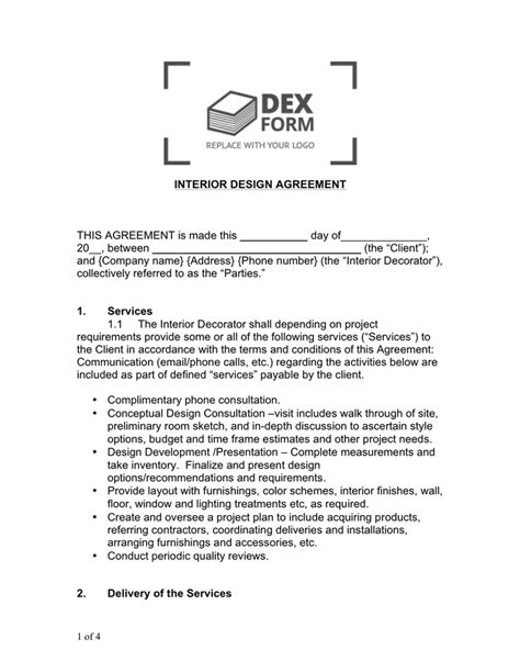 Interior Design Contract Sle Brokeasshome Com Contract Template For Interior Design Services