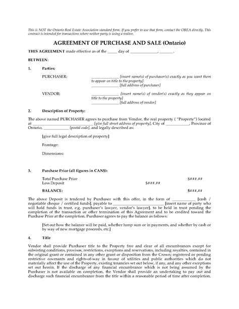 Ontario Fsbo Real Estate Purchase And Sale Contract Legal Forms And Business Templates For Sale By Owner Purchase Agreement Template