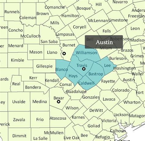 map of central texas counties central texas county map my