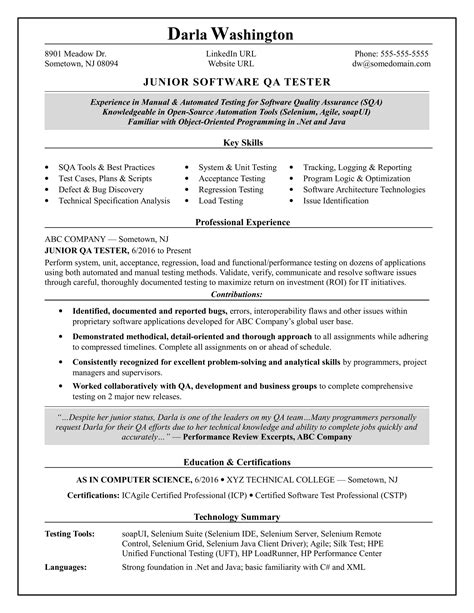 Qa Resume by Entry Level Qa Software Tester Resume Sle