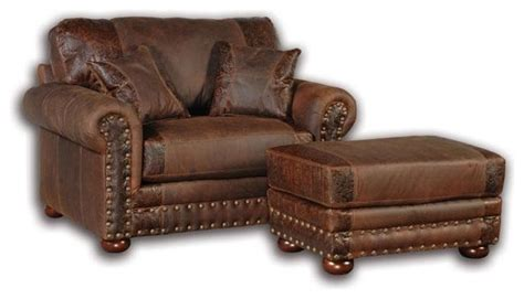leather oversized chair with ottoman western rustic leather oversized chair armchairs and