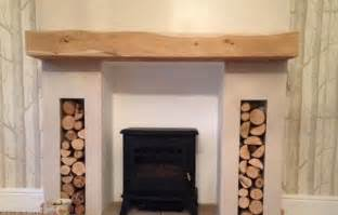 solid oak beam floating wood mantel characterful fireplace