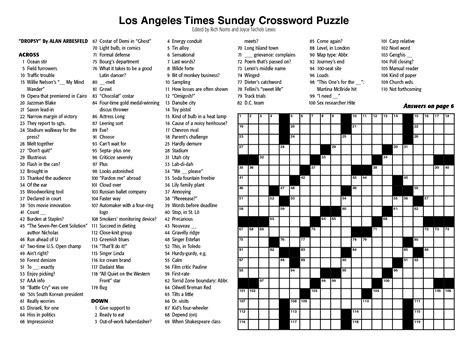 New York Times Sunday Crossword Printable