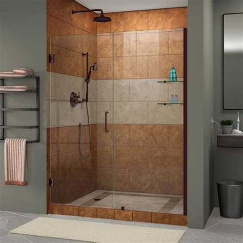 Bronze Shower Doors Dreamline Unidoor 58 In To 59 In X 72 In Frameless Hinged Pivot Shower Door In Rubbed