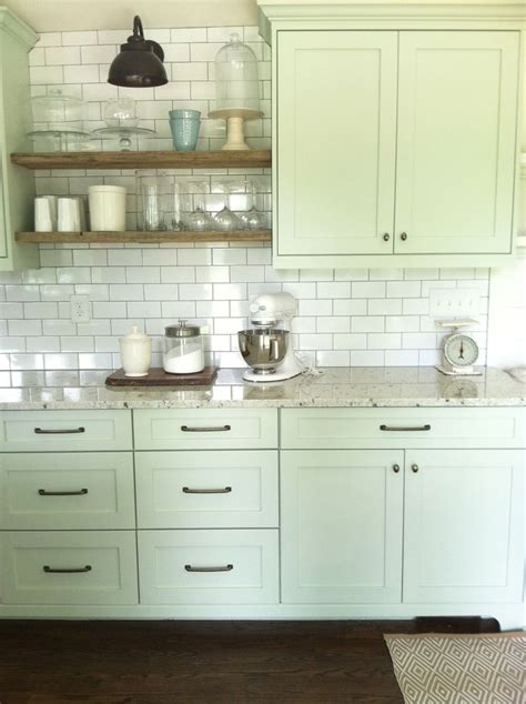 kitchens with shelves green nice cabinet color and full wall of subway tile with open