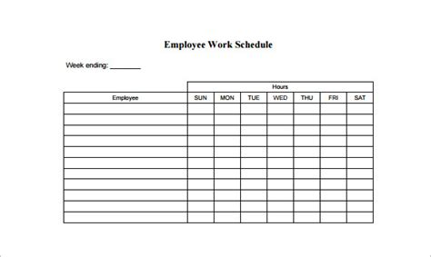 employee schedule template 5 free word excel pdf