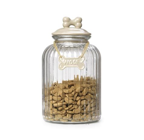 treat jar glass treat jar with bone plaque in mink by house of paws
