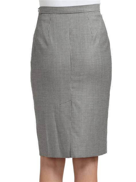 boutique moschino houndstooth pencil skirt in gray black