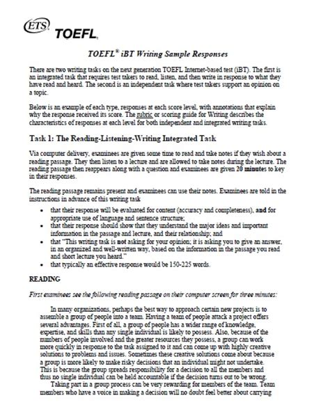 toefl ibt essay sles toefl integrated writing sle essays 28 images how to