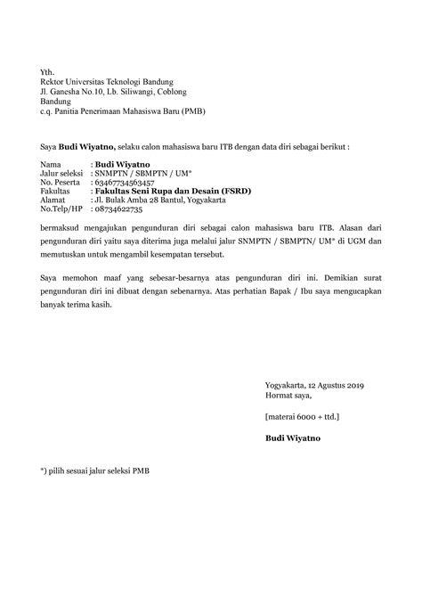 contoh surat pengunduran diri mahasiswa yang baik dan