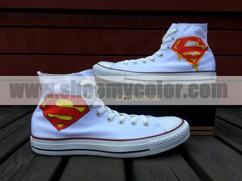 Superman Canvas Shoes superman images superman logo white converse painted