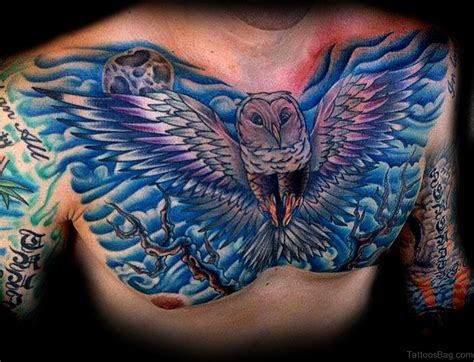 blue tattoos 50 attractive owl tattoos designs on chest
