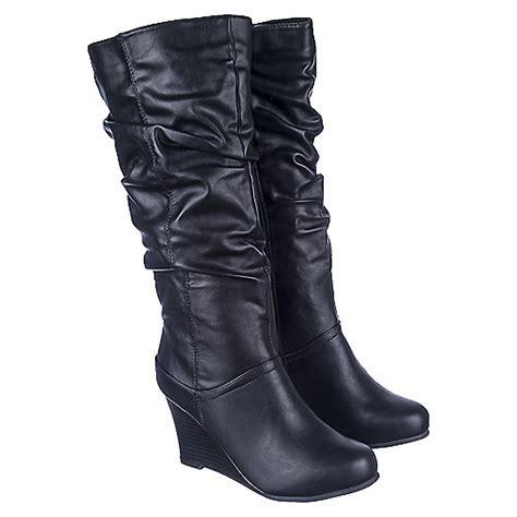 bamboo s vanna 03 black wedge boots shiekh shoes