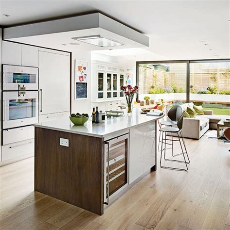 open plan kitchen design white and wood open plan kitchen open plan kitchen