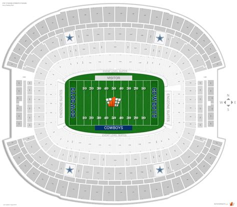 at t stadium map dallas cowboys seating guide at t stadium cowboys