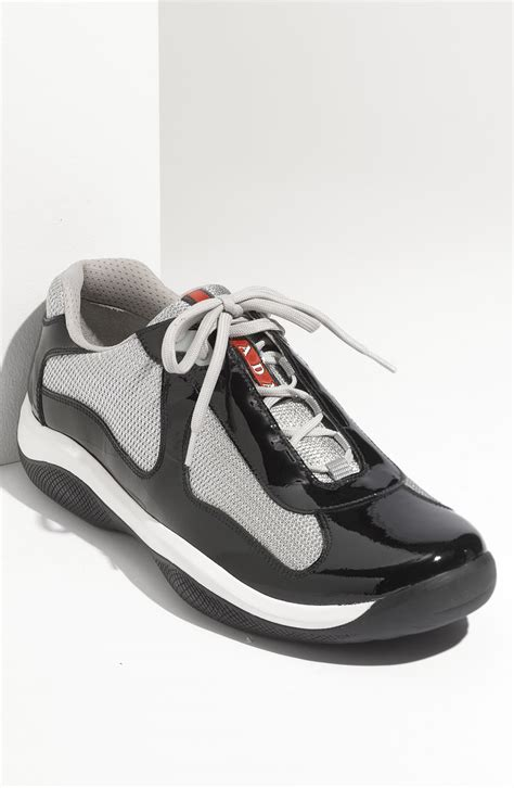 prada americas cup sneaker prada americas cup mesh leather sneaker in black for