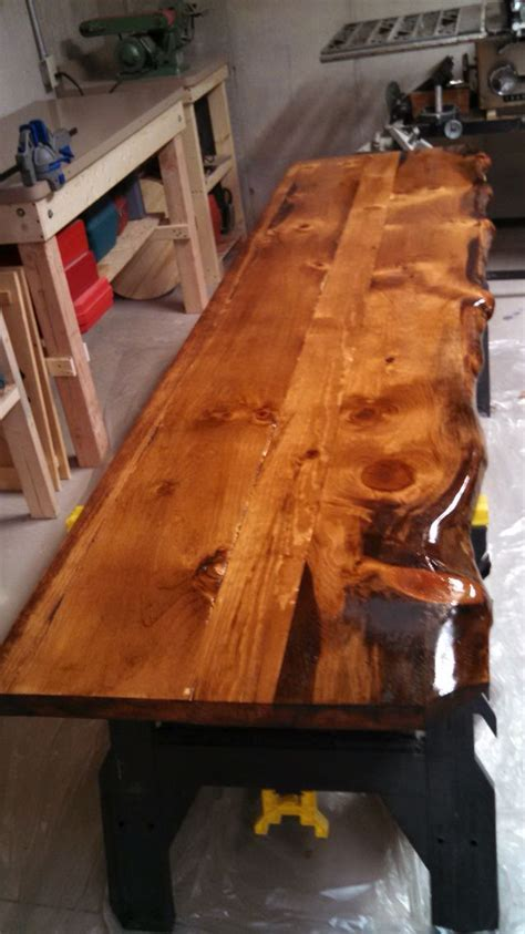 Live Edge Pine Countertops with Minwax Honey Stain   Log
