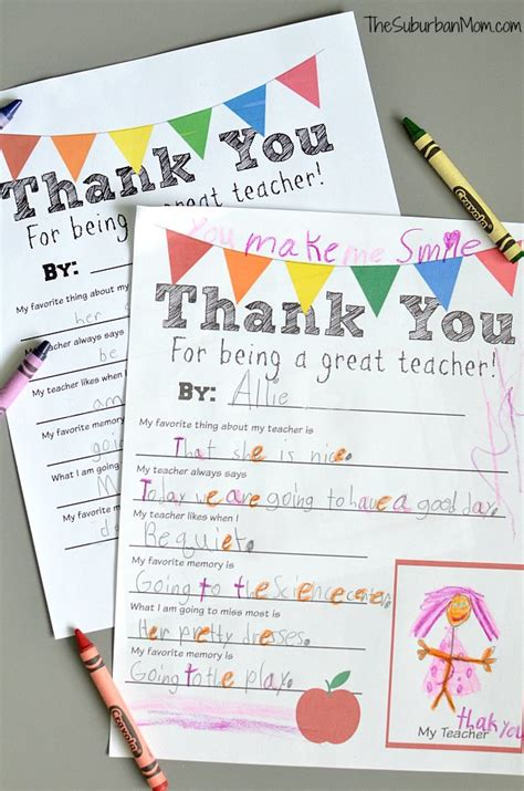printable thank you notes for teachers to give to students thank you teacher free printable