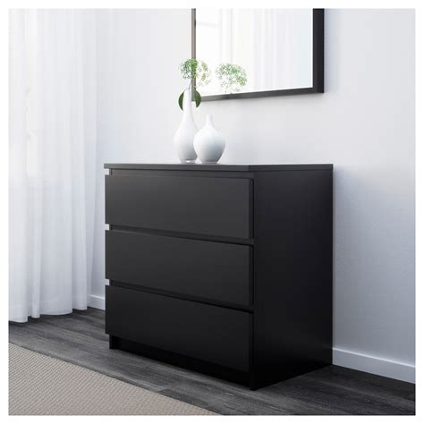 dark brown malm chest of drawers malm chest of 3 drawers black brown 80x78 cm ikea