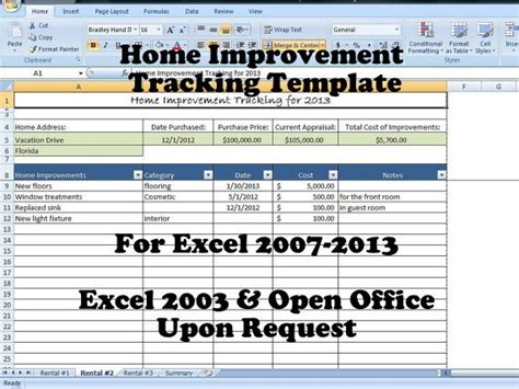 Home Improvement Tracking Template In Excel Spreadsheet Home Repair List Template