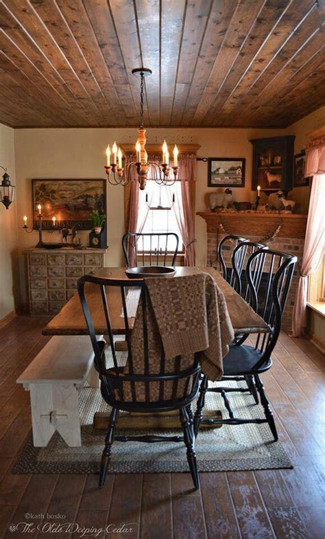 Primitive Dining Room Furniture The Black Chairs Primitive Dining Rooms Pinterest Black Chairs Wood Ceilings And