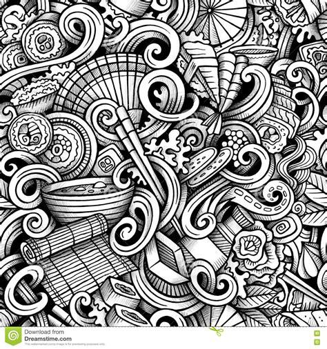 japanese line pattern cartoon hand drawn japanese food doodles seamless pattern