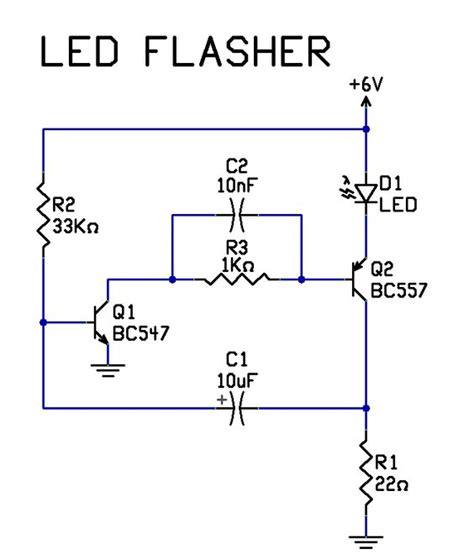 diode led flasher simple 2 transistor led flasher circuit tech stuff led and simple
