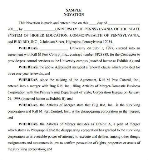 sample novation agreement  documents   word